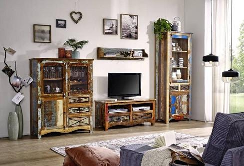 obývacia stena staré indické drevo